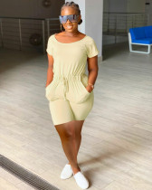Plus Size Solid Short Sleeve Casual Romper YMF-86808
