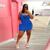 Plus Size Pink Letter Print Tank Top Mini Skirt 2 Piece Sets WAF-77225