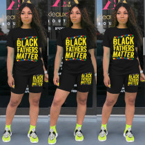 Letter Print T Shirt And Shorts Two Piece Suits MA-Y350