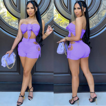 Sexy Wrap Chest Hollow Shorts 2 Piece Sets NSFF-70017