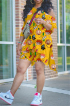 Plus Size Cartoon Print 3/4 Sleeve Top And Shorts Two Piece Sets BNNF-9651