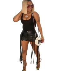 PU Leather Tassel Sexy Shorts MA-Y421