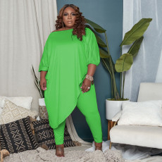 Plus Size Solid Irregular Long Top And Pants 2 Piece Sets QSF-51023