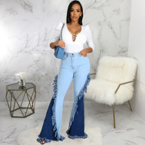 Fashion Splice Slim-fit Denim Flared Pants HSF-2565
