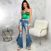 Plus Size Fashion Ripped Denim Slim Flared Pants HSF-2561