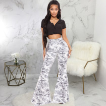 Plus Size Fashion Snake Print Slim-fit Denim Flared Pants HSF-2474