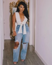 Plus Size Denim Ripped Hole Loose Jeans LX-5508