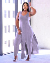 Plus Size Solid Sleeveless Split Top And Pants 2 Piece Suits YMF-86810