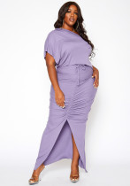 Plus Size Solid Irregular Top Split Long Skirt 2 Piece Sets YBSF-86720