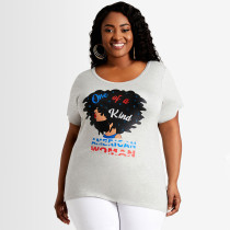 Plus Size Casual Printed Short Sleeve O Neck T Shirt SH-390160