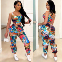 Casual Printed Tank Top And Pants 2 Piece Sets TE-4284