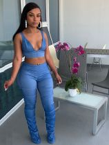 Sexy Solid Vest Top Stacked Pants 2 Piece Sets XYMF-88076