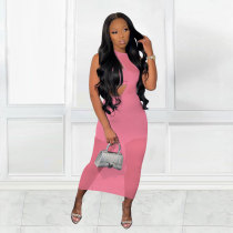 Solid One Shoulder Crop Top+Mini Skirt+Mesh Long Dress 3 Piece Sets MTY-6561