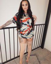 Camo Print Short Sleeve O Neck Mini Dress LSL-8001
