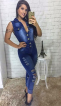 Plus Size Denim Ripped Sleeveless Jeans Jumpsuit LX-6903