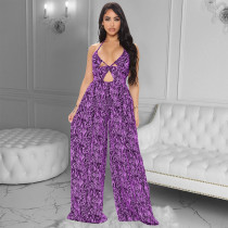 Plus Size Sexy Printed Halter Wide Leg Jumpsuit YINF-88806