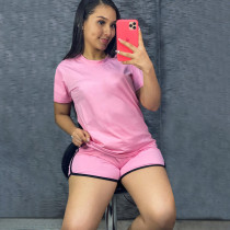 Solid Sports T Shirt And Shorts Two Piece Suits YIM-202