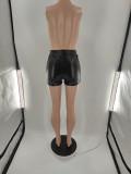 Plus Size Black PU Leather Side Zipper Skinny Shorts BLI-2506