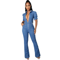 Casual Denim Short Sleeve Zipper Jeans Jumpsuit HSF-2928