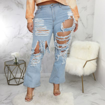 Plus Size Denim Ripped Tassel Flared Jeans Pants HSF-2535