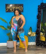 Plus Size Tie Dye Print V Neck Knee Length Jumpsuit AWYF-L749