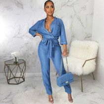 Casual Denim Long Sleeve Sashes Jeans Jumpsuit HSF-2922