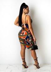 Sexy Printed Sling Bodysuit+Mini Skirt 2 Piece Sets ZNF-9098