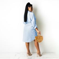 Casual Solid Long Sleeve Shirt Dress YBSF-86726