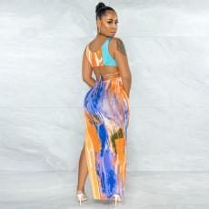 Sexy Printed Sleeveless Backless Split Maxi Dress YNSF-1666