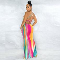 Sexy Printed Backless Cross Strap Maxi Dress YNSF-1667