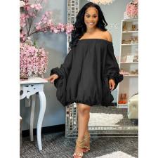 Solid Off Shoulder Long Sleeve Loose Dress DDF-88117