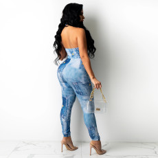 Sexy Printed Halter Lace-Up Jumpsuit SZF-8149