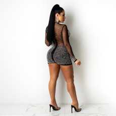 Sexy Mesh Hot Drilling See Through Long Sleeve Romper SH-390181