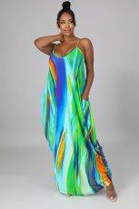 Sexy Printed Spaghetti Strap Maxi Dress YIDF-81335