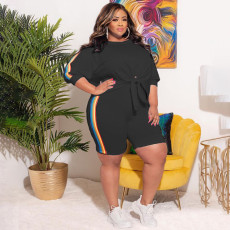 Plus Size Casual Side Striped 3/4 Sleeve 2 Piece Shorts Set YAOF-80052