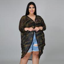 Plus Size Camo Print Loose Thin Long Coat CYA-1614
