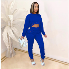 Solid Long Crop Top+Lace-Up Pants 2 Piece Outfit MDF-5249