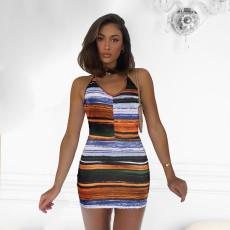 Sexy Printed Halter Mini Dress MUKF-052