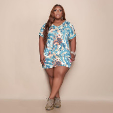 Plus Size Tie Dye Print V Neck Short Sleeve Mini Dress MUKF-053