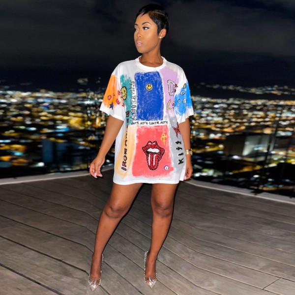 Casual Printed Short Sleeve O Neck T Shirt TE-4302