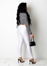 Houndstooth Print Long Sleeve Tie-Up Tops WSM-5267