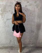 Black Sleeveless Crop Top Mini Culottes 2 Piece Sets LSL-6461