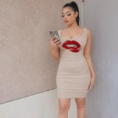 Lip Print Sleeveless Ruched Bodycon Dress MUKF-016