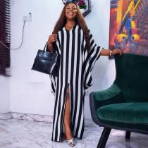 Plus Size Striped Loose Irregular Split Maxi Dress NNWF-7263