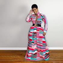 Plus Size Striped Long Sleeve Maxi Dress Without Belt SFY-2128