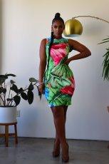 Lotus Print Sleeveless Bodycon Dress ZDF-31133
