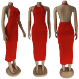 Sexy Red Halter Long Dress ZDF-31105