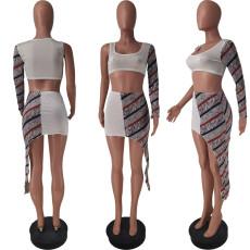 Sexy Patchwork One Shoulder Irregular Skirt 2 Piece Sets ZDF-31136