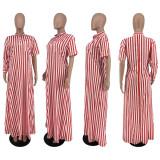 Casual Striped Asymmetry Split Maxi Dress ZNF-9103