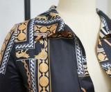 Casual Printed Long Sleeve Sashes Romper YF-9936